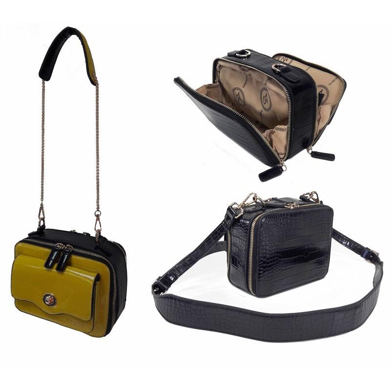Bolso con asa de cadena amarillo y negro