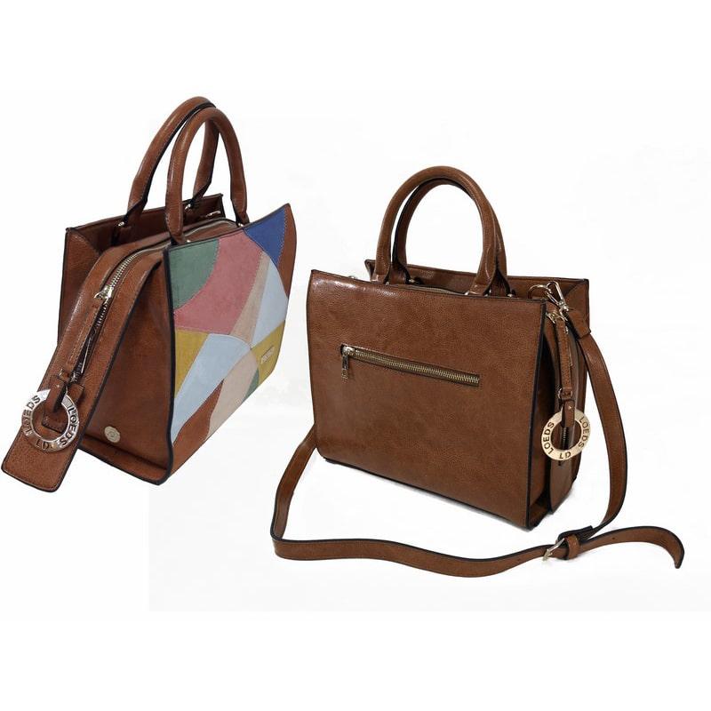 Bolso de mujer de cuero marrón grande