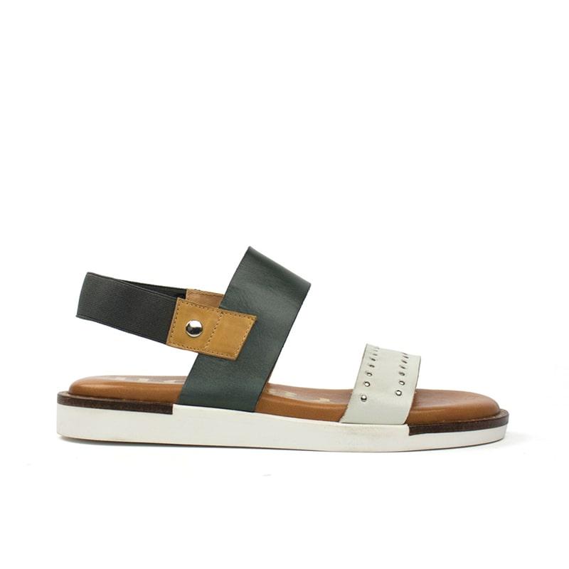 Sandalia de tacón plano azul y blanco