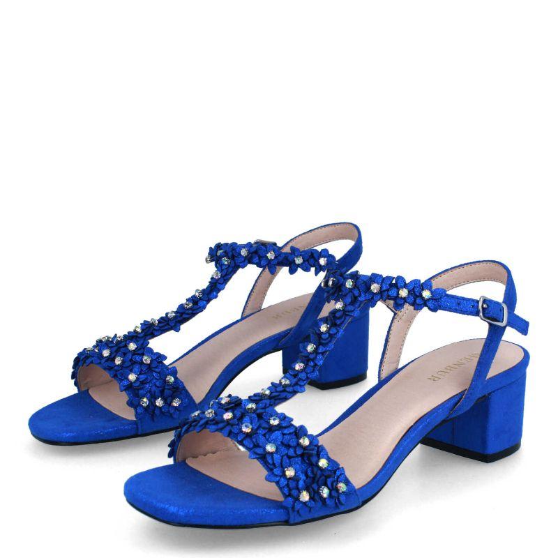 sandalias azules de tacón