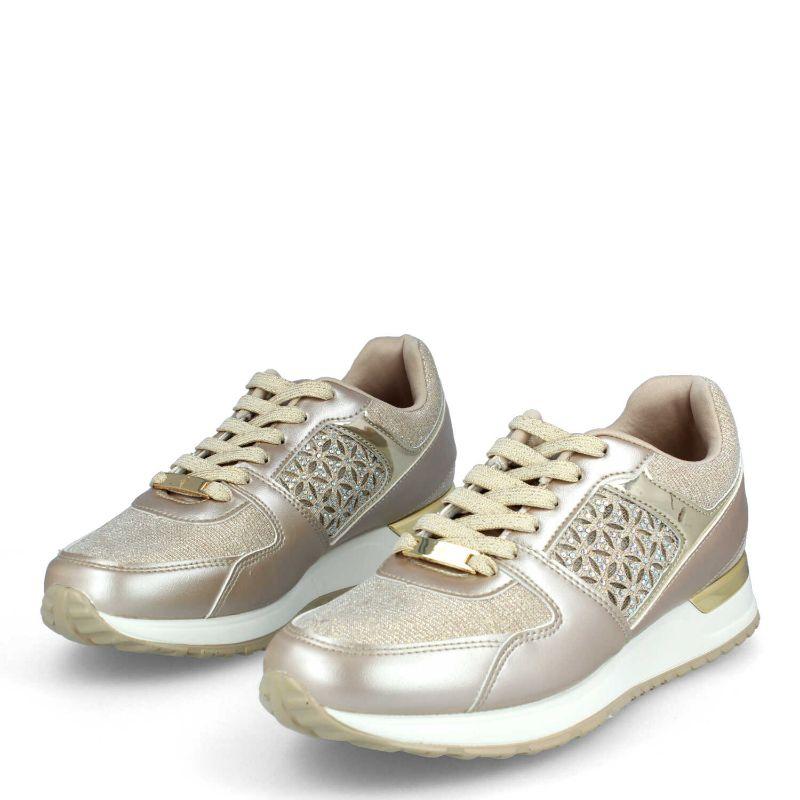 Zapatillas sneaker mujer doradas brillante