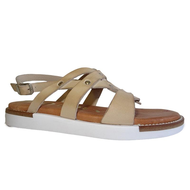 Sandalias de tacón plano beis y blanco