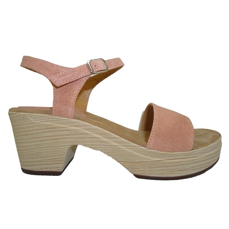 Sandalias de tacón rosa palo